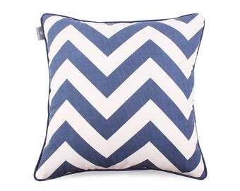 We Love Beds Zig Zag Dark Blue Pillow Case