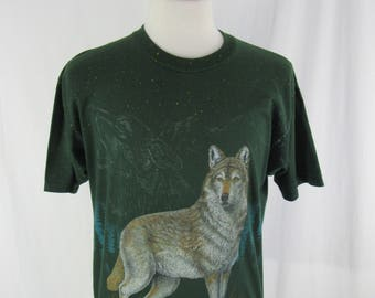 Vintage 90s Wolf All Over Print Shirt size Large Jerzees