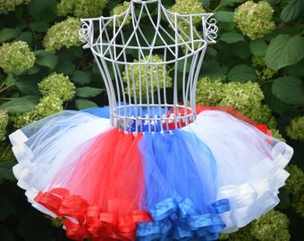 4th of july dress girls patriotic outfit, patriotic clothing 4th of july pageant wear, red white blue tutu dress toddler NB-SIZE 12 TC07