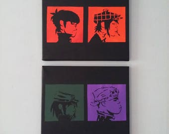 2 pack Gorillaz stencil painting - canvas