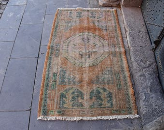 Vintage Free Shipping Oushak Rug Pastel Turkey Rug 2.6x4.6 feet Bohemian Rug Area Rug Boho Rug Ethnic Aztec Rug Anatolian Wool Rug Code97