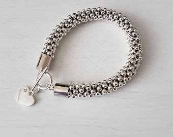 Handmade Silver Beaded Kumihimo Bracelet