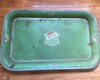 Vintage Decorative Green Metal Tin Tray