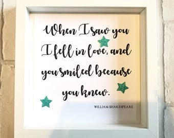 When I Saw You Quote | William Shakespeare Quote | Gift for Couples | Gift for Her | Anniversary Frame | Wedding Gift | Quote Frame | Love