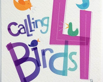 Four Calling Birds Hand-lettered Print