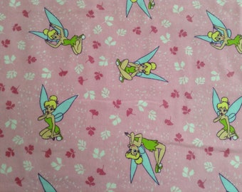 Flannel/Disney/Tinkerbell on pink background cotton fabric by the yard
