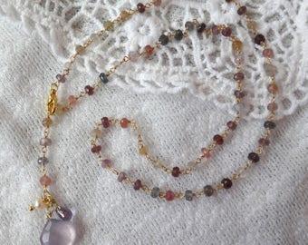 Natural Gem Purple Lariat Y Necklace