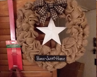 Home Sweet Home burlap wreath