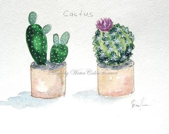 Original watercolor, cactus, picture of cactus, watercolor paintings, wall art, gift, wall decor, flowering cactus, watercolor cactus