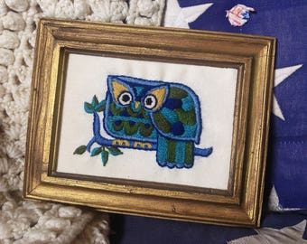 Vintage Owl Crewel, Blue and Green Chi Omega Needlepoint Art