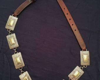 Vintage Justin Brown Metal Link Belt