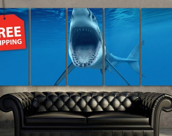 "Canvas print painting ""Shark"" Wall Art decor Poster Print Flover Extra Large Wall Decor. Modern art home decor.FREE SHIPPING!"