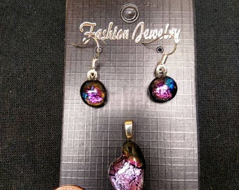 Handmade small purple dichroic glass necklace and earring set