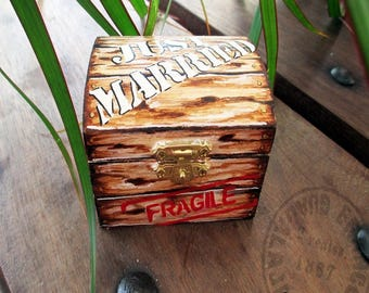 """Just Married"" wedding ring box"