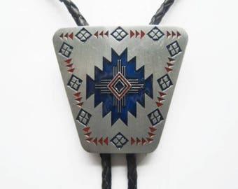 Western Bolo Tie Native American Tribal Pendent Design Genuine Leather Enamel Neck Tie