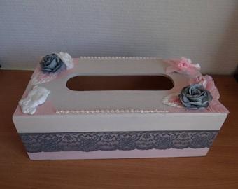A TISSUE box - handmade - unique shabby style