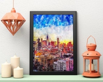 Chicago Wall Art, Illinois Print, Printable Art, Chicago Painting, Wall Art Print, Chicago Print, Instant Download, Chicago Cityscape