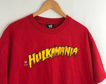 Vintage 90s Hulkamania WWE Hulk Hogan Red T Shirt Size XL