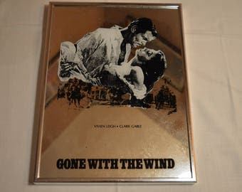 Vintage framed Gone with the Wind mirror with Vivien Leigh & Clark Gable