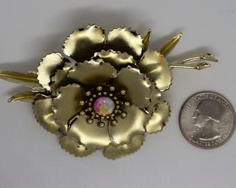 Vintage CORO Signed Large Metallic FLower With Aurora Borealis AB Rhinestone Detail Gold Toned Brooch Figural Pin