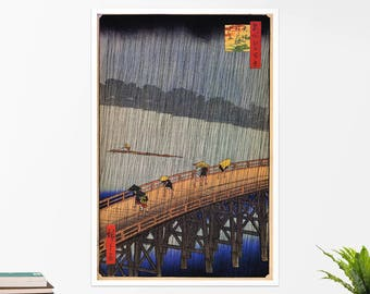 "Utagawa Hiroshige, ""Evening Shower at Atake"". Art poster, art print, rolled canvas, art canvas, wall art, wall decor"