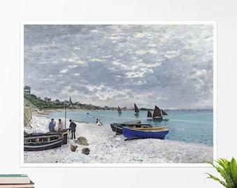 """Claude Monet, """"The Beach At Sainte Adresse"""". Art poster, art print, rolled canvas, art canvas, wall art, wall decor"""