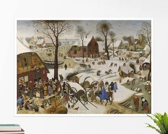 "Pieter Bruegel, ""Census at Bethlehem"". Art poster, art print, rolled canvas, art canvas, wall art, wall decor"