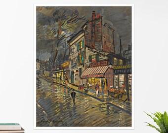 "Konstantin Korovin, ""Paris by Night"". Art poster, art print, rolled canvas, art canvas, wall art, wall decor"