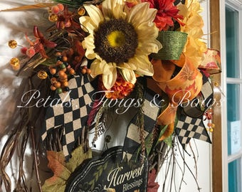 Harvest Blessings, Thanksgiving wreath, Fall wreath, Autumn wreath, thanksgiving decor, Fall Decor, outdoor wreath, woodsy wreath, autumn