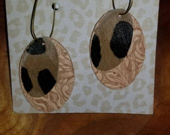 Leather and Cheetah Earrings