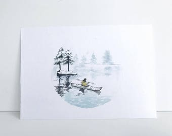 4 1/2'' x 6 1/2'' Canoe Watercolor Painting Print, Watercolor Art, Watercolor Decor
