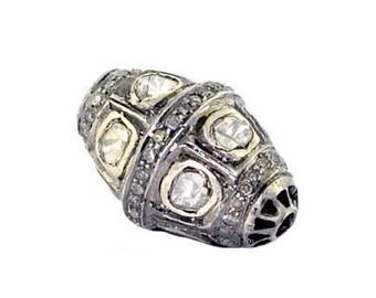 92.5 Sterling silver pave diamond rosecut polki diamond bead ball finding jewelry bracelet bead etc