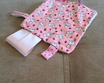 Baby and toddler mini cuddle sensory blanket with ribbon tags