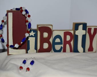 USA, Red, White and Blue Necklace & Earrings