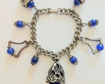 Vtg Silver Charm Bracelet/Statement Charm Bracelet/Silver and Blue Beads Bracelet/Chunki Chain Charm Bracelet/Royal Blue Beads  Bracelet/325
