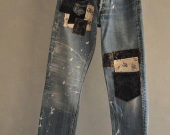 LEVIS 501 30 32 33 34 36  Jeans Levis Vintage Levi  hige Waist Vintage Mom Jeans emboridered demin 80s 90s clothing slime patched painted