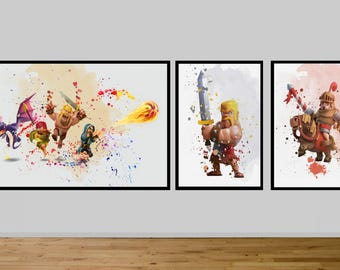 clash of clans, gamer decor, geek decor, video game decor, video game poster,  birthday, kids, Android,  Archer Poster, Game Poster, pekka,