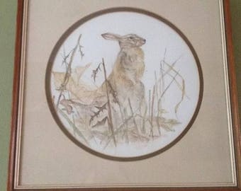 Watercolour Painting Hare in winter autumn fields Autumn colours signed by B Coulson - Wildlife - Hunting - nature - rabbit
