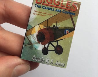 Miniature Book Brooch, Bookmark or magnet, Vintage book, Biggles