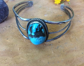 "Turquoise Cuff Bracelet Signed AS .........Beautiful Native American Style Jewelry Cuff Vintage Turquoise Southwest Boho 4.75"" With 1.5"" gap"