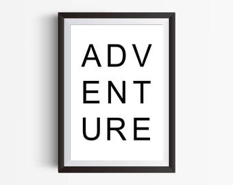 Adventure, Printable Wall Art, Digital Prints, Instant Download Art, Minimal Art Print, Minimal Art Print, Dorm Room Decor, Instant Download