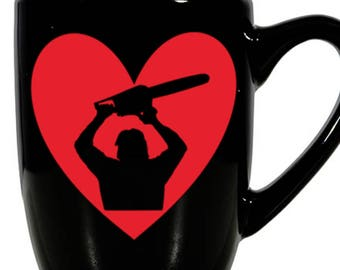 Texas Chainsaw Massacre Leatherface Slasher Killer Valentine's Day Love Heart Horror Mug Coffee Cup Gift Home Decor Kitchen Halloween Bar