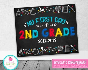 First Day of 2nd Grade Chalkboard Sign - First Day of School Sign - Blue, Red, Yellow, Turquoise - 8x10 Instant Download Printable Sign