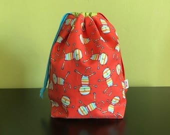 "Handmade Drawstring bag / pouch for knitting accessories 8.75"" x 5"" x 3.5""  *Rainbow Cats*"