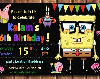 Spongebob Invitation, Spongebob Birthday Invitation, Spongebob, Spongebob Printable, Spongebob Card, Spongebob Invite-digital file d
