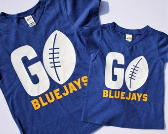 Kids Football Shirt / Spirit V-Neck / Youth T-Shirts / Toddler T-Shirts / Infant T-Shirts / Your Team Spirit Shirt / Norton Bluejays /