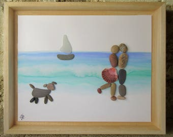 Pebble Art Couple and Dog with watercolor painting- Couple with a dog on the beach- Unique Coastal Gift from France, the country of love