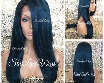 Lace Front Wig - Human Hair Blend - Straight - Long - Dark Green - Teal - Greenish Blue - Black Roots - Side Part - Heat Safe - Cosplay