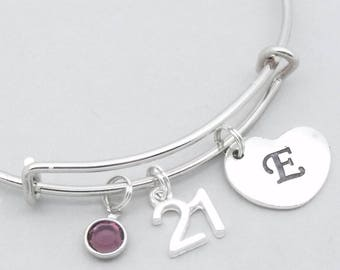 21st birthday heart initial bracelet | 21st birthday jewelry | 21st bangle | personalised 21st gift | birthstone