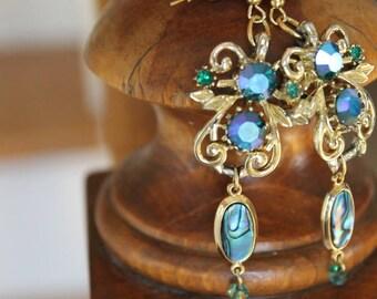 Vintage Mid Century Chandelier Earrings, Chandelier Earrings, Handmade Special Occasion Earrings, Free Shipping